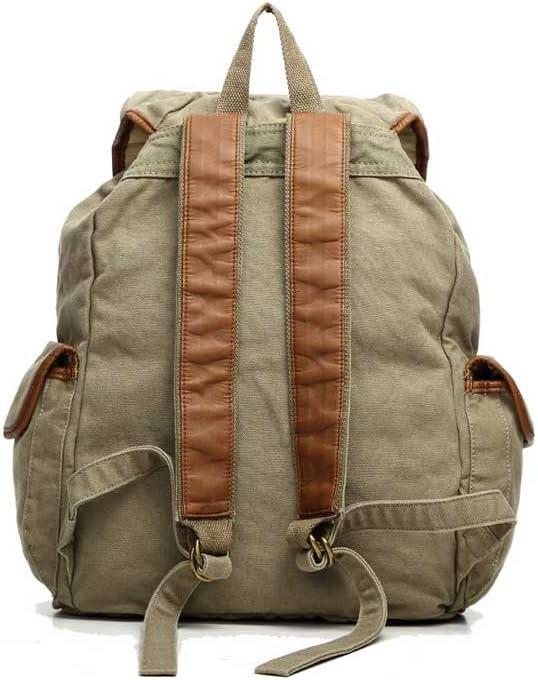 Amyannie Cotton Canvas Backpack Neutral Leisure Travel Backpack Pu Shoulder Strap Multi-Pocket Bag