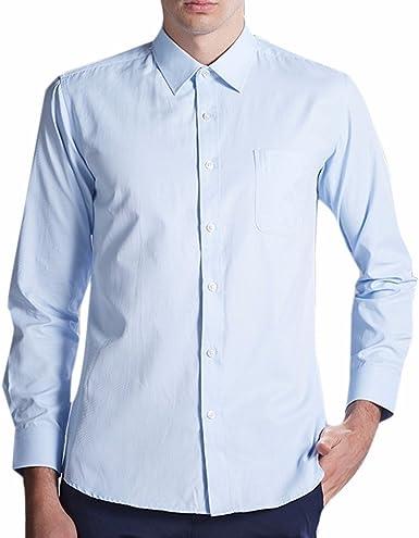 QIYUN.Z Tirantes Hombres De Color Sólido Punto Cuello De Manga Larga Camisas De Vestir: Amazon.es: Ropa y accesorios