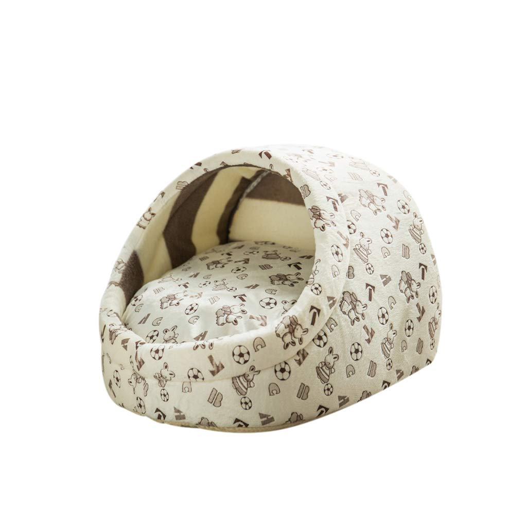 Beige M Beige M TLTLCWW Dog Bed, Removable And Washable Semi-enclosed Cat Dog House Warm And Breathable Pet Bed, Multi-color Optional (color   Beige, Size   M)