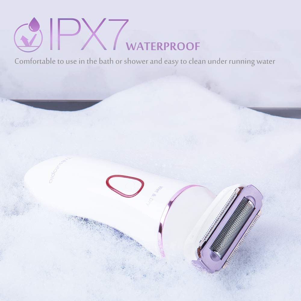 Women's 4-In-1 Electric Shaver Set, Waterproof Cordless Lady Razor Kit - Purple