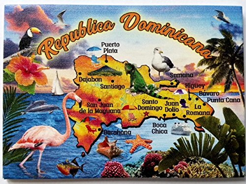 Dominican Republic Map Caribbean Fridge Collector's Souvenir Magnet 2.5