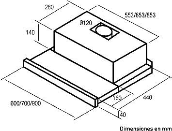 Nodor 1733 Telescópica o extraplana Negro 390m³/h C - Campana (390 m³/h, Canalizado, E, A, D, 45,5 dB): Amazon.es: Hogar