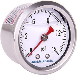"Measureman 1-1/2"" Dial Size, Glycerin Filled Fuel Pressure Gauge, 304 Stainless Steel case, 0-15Psi, 3-2-3%, 1/8""NPT Rear Mount"