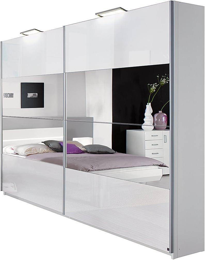 Armario de puertas correderas Tira - Color/brillante blanco/espejo - Ancho del armario de: 225 cm - 2-puertas, humo Select: Amazon.es: Hogar