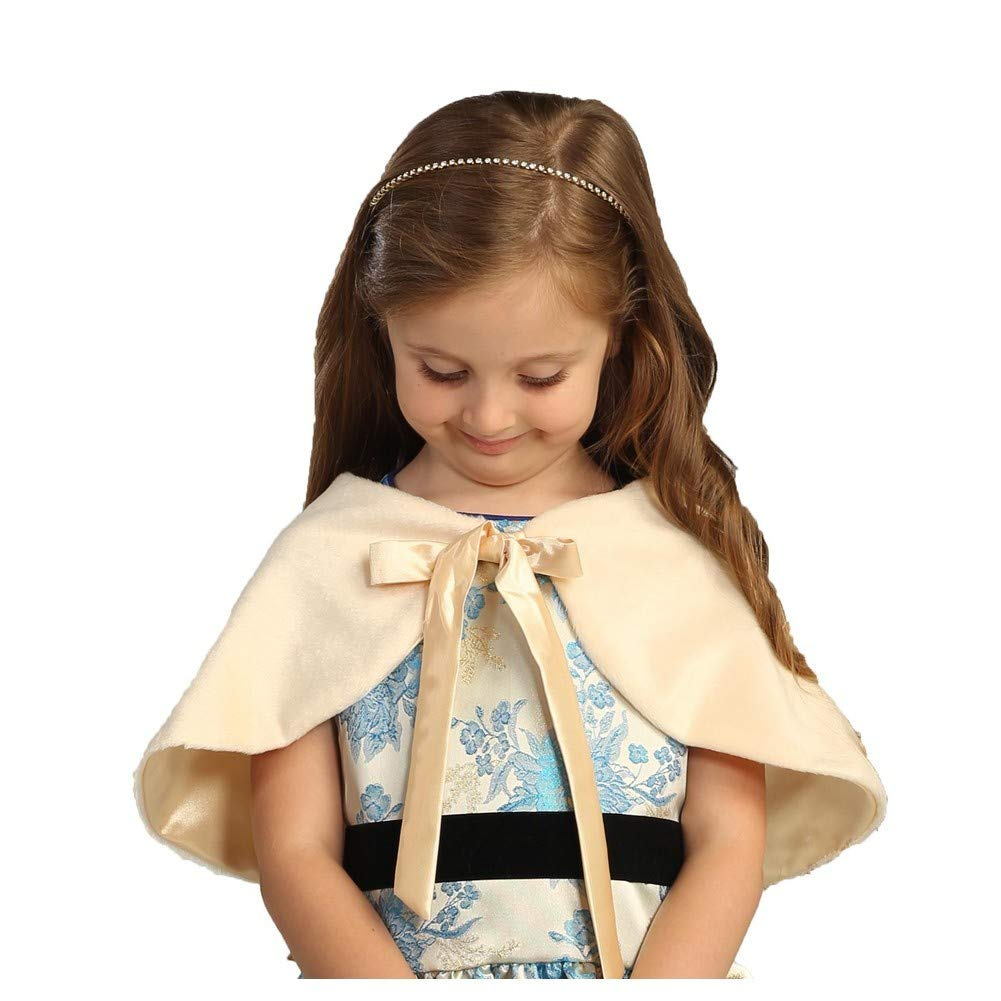 Angels Garment Big Girls Ivory Faux Wrap Shoulder Bow Collar Cape 7-10