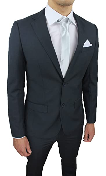 Abito Completo Uomo Sartoriale Grigio Scuro Slim Fit Vestito Elegante  Cerimonia con Pochette da Taschino ( b2558abe761