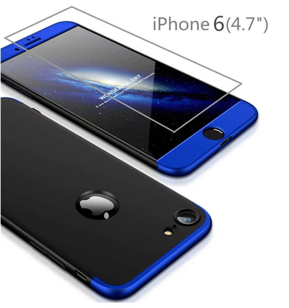 AILZH Funda para iPhone 6 Plus//iPhone 6S Plus+Pel/ícula Vidrio Templado Cubierta 360 Grados Caja protecci/ón de c/áscara Dura Anti-Shock Anti-rasgu/ño Protector Completo Cuerpo Caso Mate Azul Negro