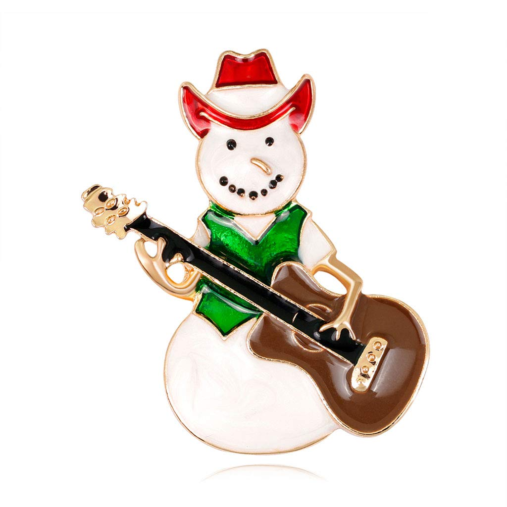 Kofun Brooch, Christmas New Year Snowman Guitar Brooch Corsage Gifts Banquet Pins Decorations B