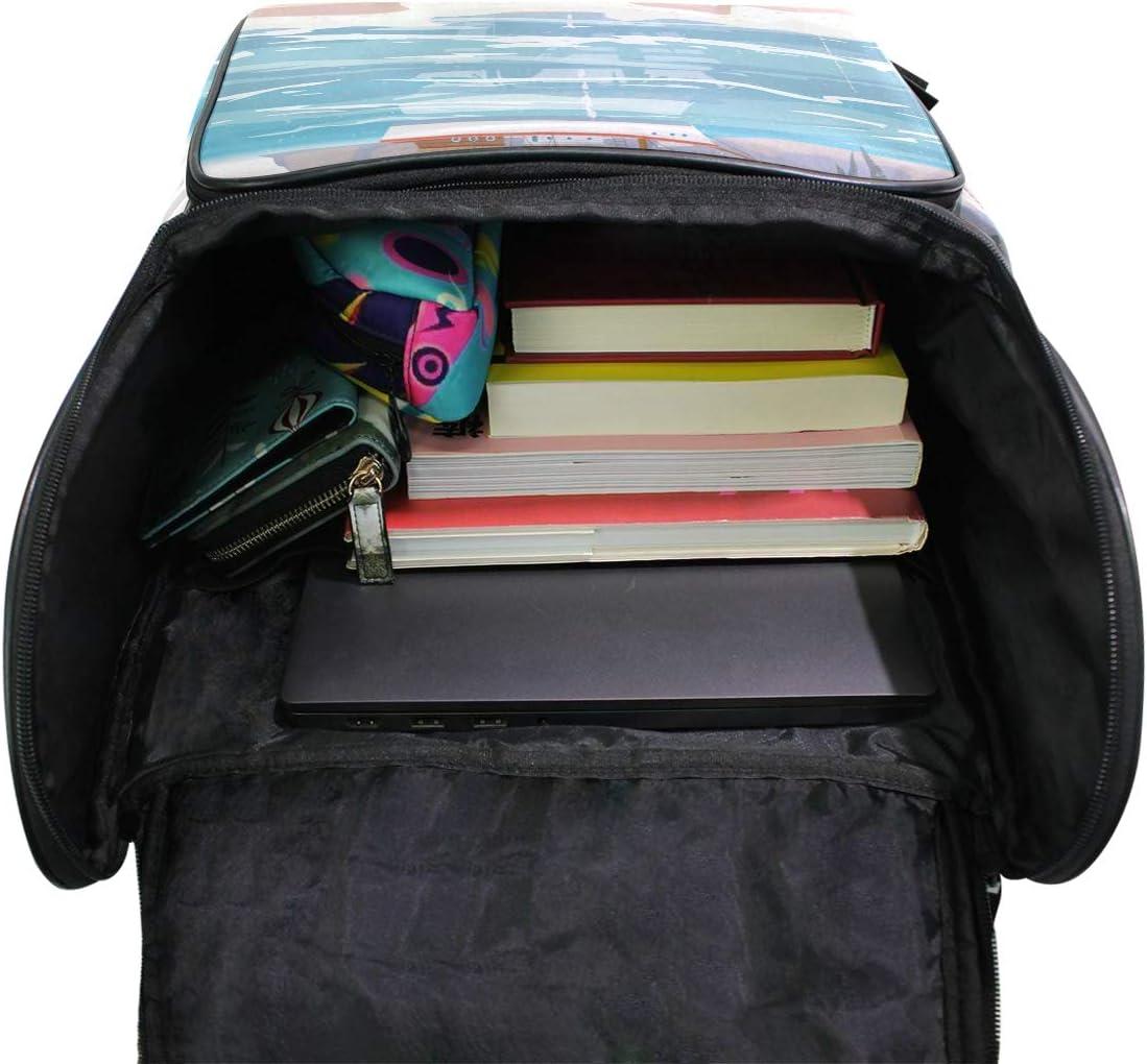 AUUXVA Backpack Ocean Beach Palm Tree Durable Laptop Travel Shoulder Bag Hiking for Women Girls Men Boys