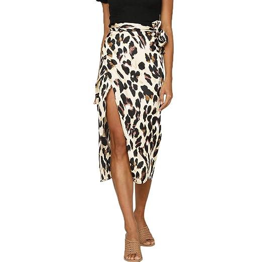 Bibao Falda con Estampado de Leopardo para Mujer, Falda con ...