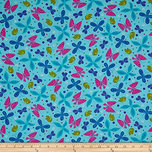 Ink & Arrow Fabrics June Bee Tango Butterflies Light Turquoise Yard -  Cranston Print Works/Quilting Treasures/VIP, 0566150