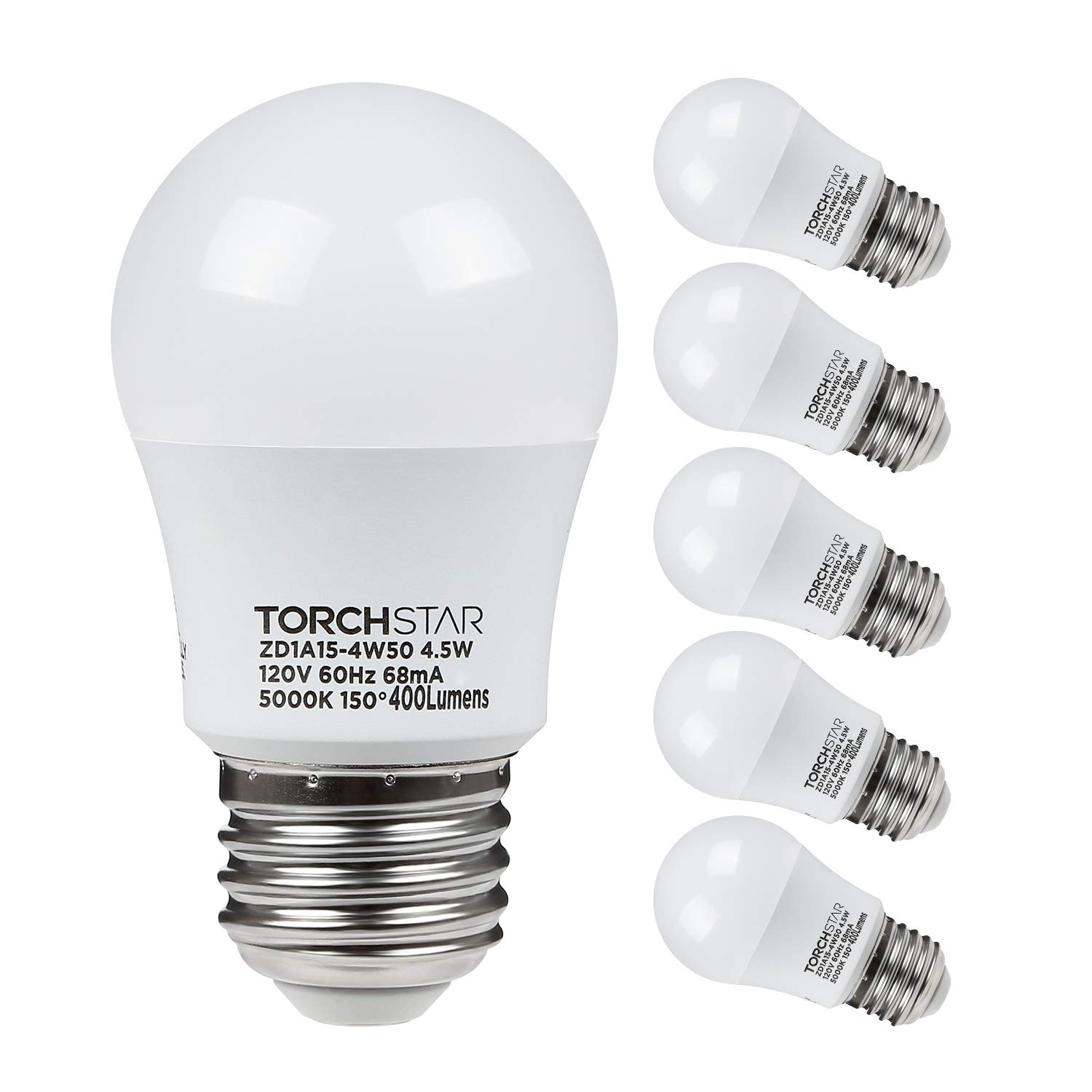TORCHSTAR 4.5W A15 LED Light Bulb, 40W Equivalent Light Bulb, UL-Listed, E26/E27 Medium Base, 400lm, 5000K Daylight, Omni-Directional LED Light Bulb, Pack of 6