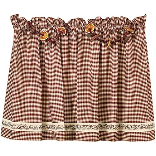 The Country House Collection Burgundy Berry Vine 30″ Curtain Tiers Review