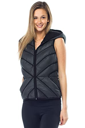 a53fd926bc50 Blanc Noir Mesh Inset Reflective Puffer Vest Womens Active Hoodie at Amazon  Women's Clothing store: