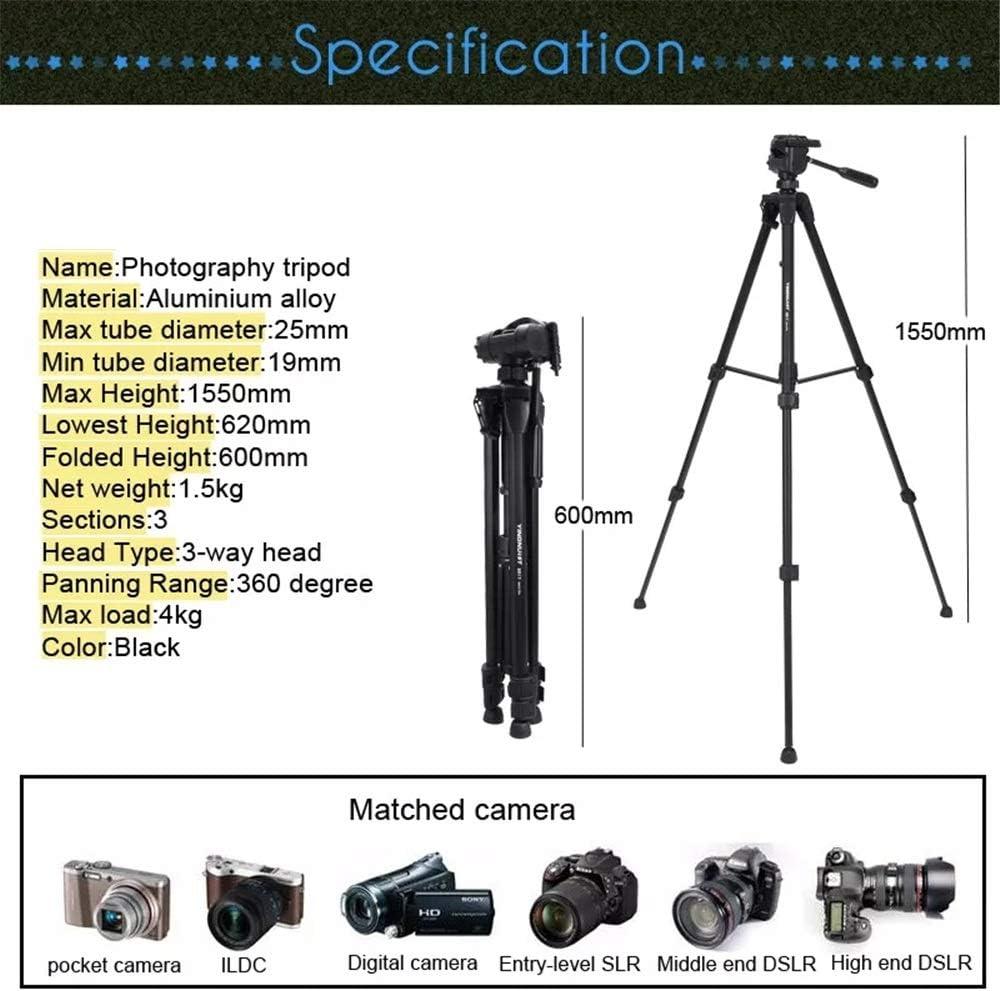 Color : Black, Size : One Size Professional Outdoor Aluminium Alloy Tripod for DSLR Camera Sunsamy Portable Tripod Portable Photography Tripod
