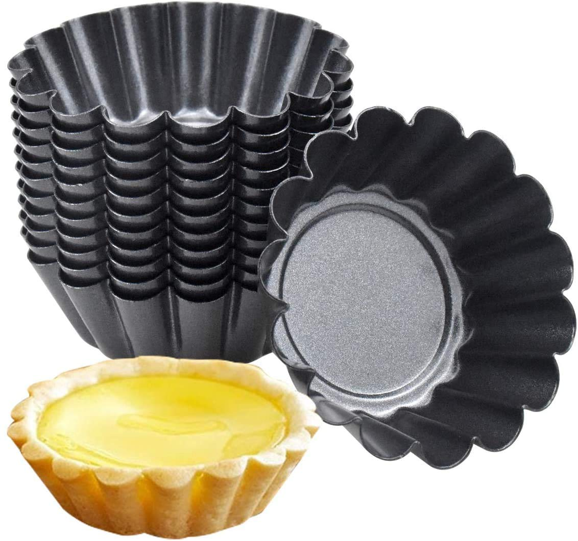 HQDeal 12 Packs Egg Tart Mold, Mini Carbon Steel Cake Muffin Moulds Tins Pans, Non-Stick Cupcake Cake Moulds, Pudding Moulds, Baking Cookie Moulds, Kitchen Reusable Baking Tools