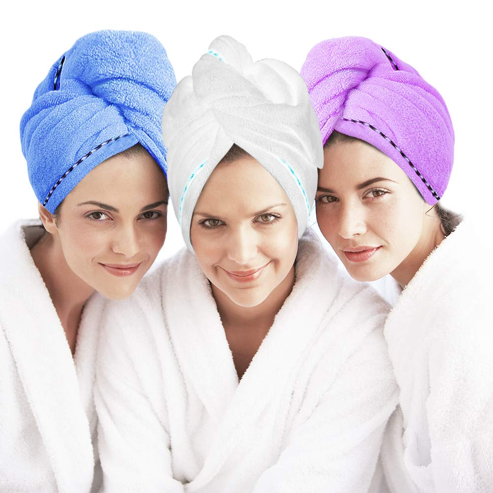 Microfiber Hair Towel Turban Wrap 3 Pack - Laluztop Anti Frizz Absorbent & Soft Shower head Towel, Quick dryer Hat, Bathing Wrapped Cap for Women Girls Mom Daughter(White/Blue/Purple) by Laluztop