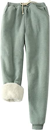 Flygo Womens Casual Winter Warm Fleece Pants Sherpa Lined Sweatpants Active Running Jogger Pants