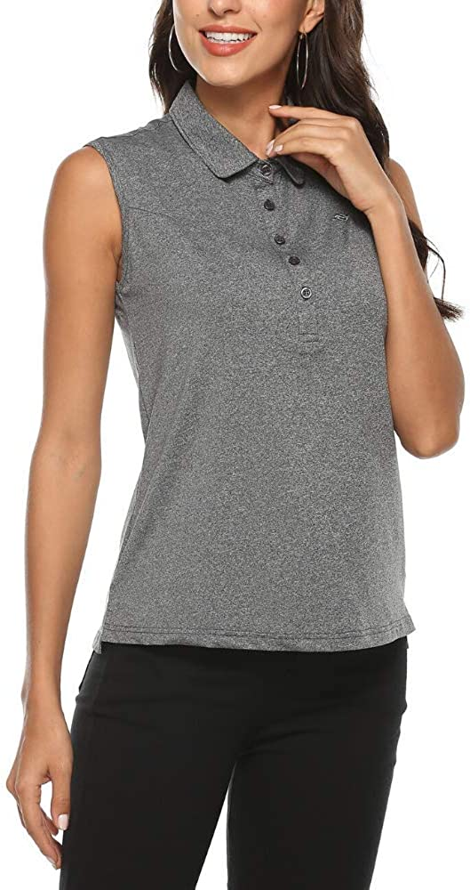 AIRIKE Golf Polo Shirts for Women Sleeveless Summer Sports Athletic Fashionable Workwear-Quick Dry Womens Tank Tops: Clothing