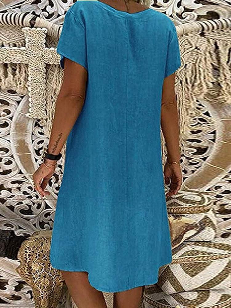 Onsoyours Damen Leinenkleid Sommer V Ausschnitt Strandkleid Boho Einfarbig A Linie Kleid Knielang Kleid Casual Lose T Shirt Kleider Damen Bekleidung Suenaacampo Com