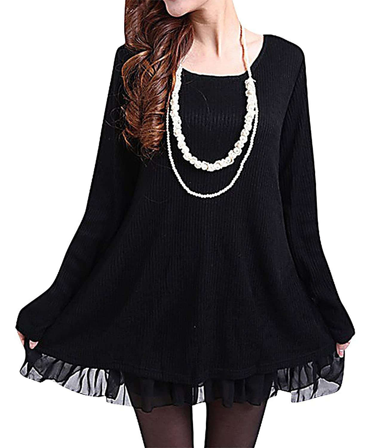 ALLEGRA Women's Stylish Long Sleeves Knitted Loose Fit Sweater Dress Lace Bow