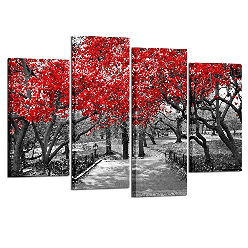 Kreative Arts - Large 4 Piece Canvas Prints Canopy Red Trees in Surreal Black White Landscape Scene in Central Park York City Picture Wall Art Modern Canvas Painting Home Decoration