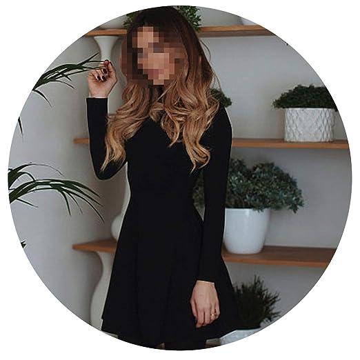 0d83c0ccfe61 Women Long Sleeve Bodycon Party Dresses Winter Slimming Elegant Temperament Mini  Dress,Black,S
