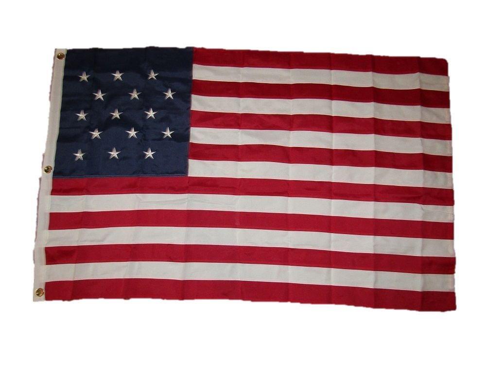品質のいい 3 x x 5刺繍縫製星条旗15星合成コットンフラグ3 ' x5 ' 3 ' B01MZ64SGH, 暮らしのデザイン:64f51237 --- laikinikeliai.lt