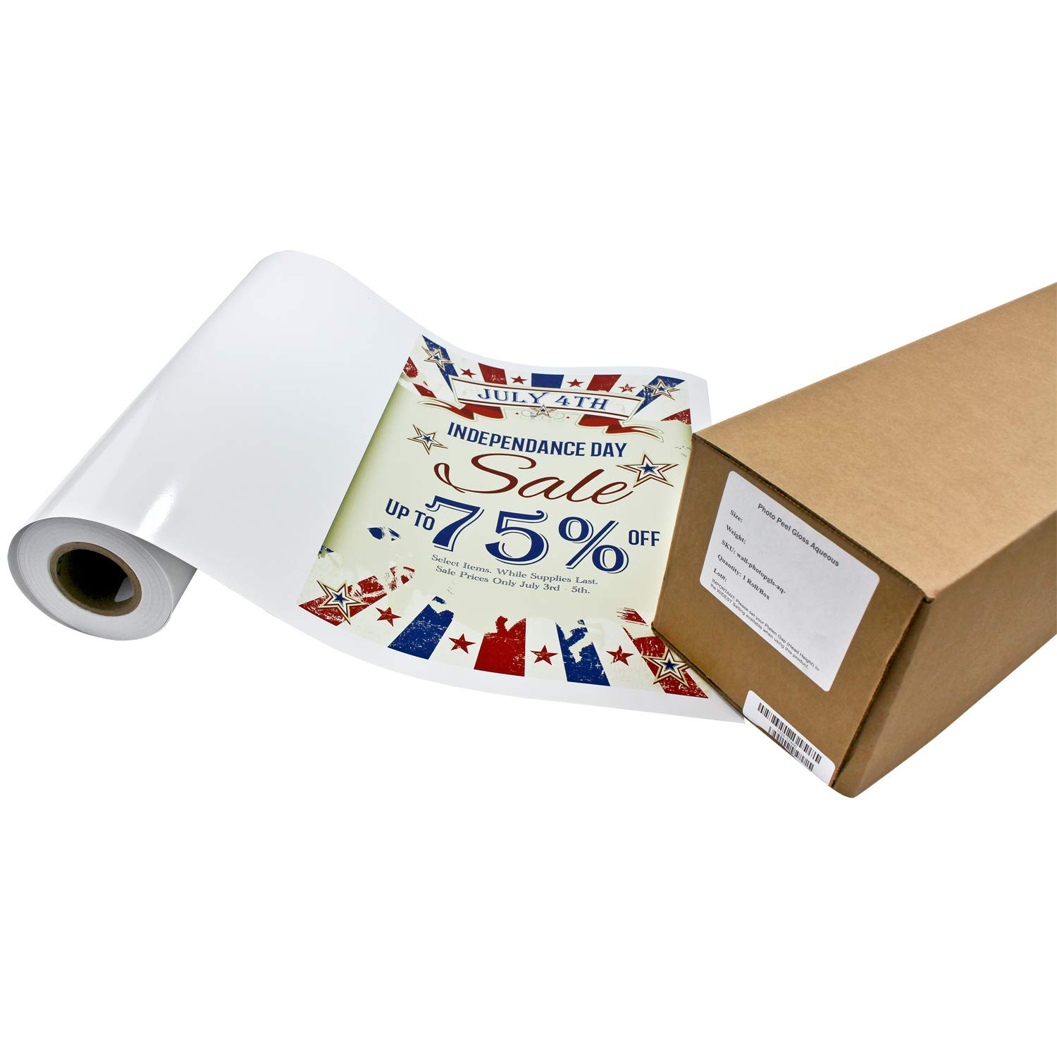 Photo Peel Glossy Printable Adhesive Vinyl Roll 24 inches x 60 feet Inkjet Peel and Stick Sticker Paper Works with All Inkjet Printers Including Professional Makes and Models