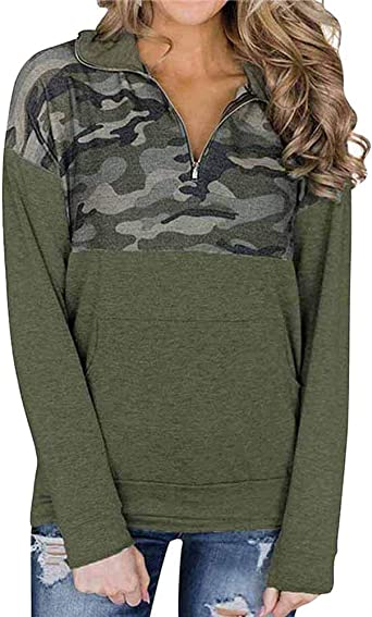Women 14 Zip Pullover Camouflage Sweatshirt Color Block Shirts Casual Long Sleeve Blouse Top