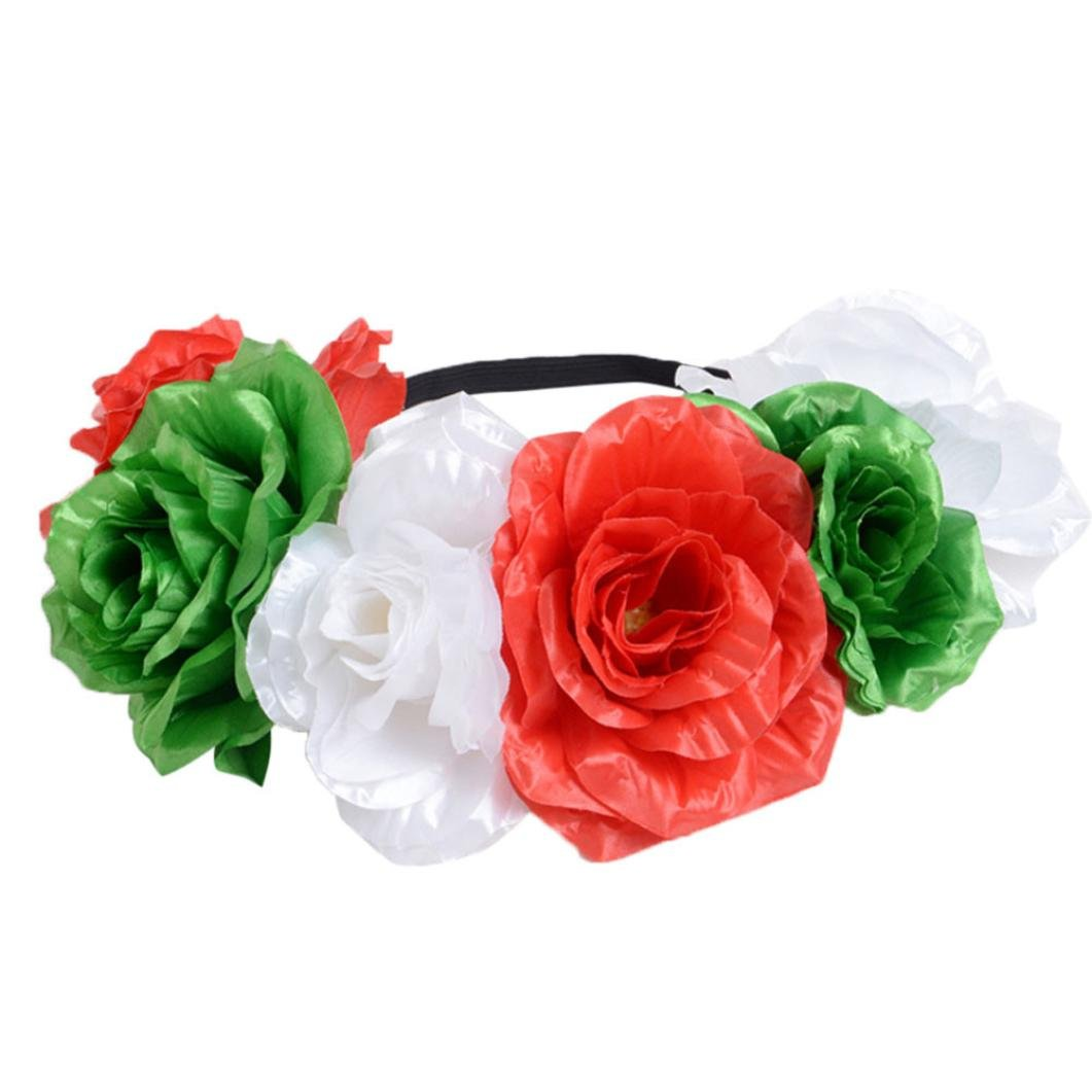 Handmade Boho Flower Headband Hair Wreath HaloHandmade Boho Flower Wreath Headband Hair Garland Crown Headpiece Wrist Band with Ribbon Festival Wedding Party (Green)