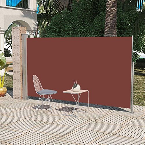 vidaXL Patio Retractable Side Awning Sun Shade Wind Protection 71''x118'' Brown by vidaXL (Image #1)