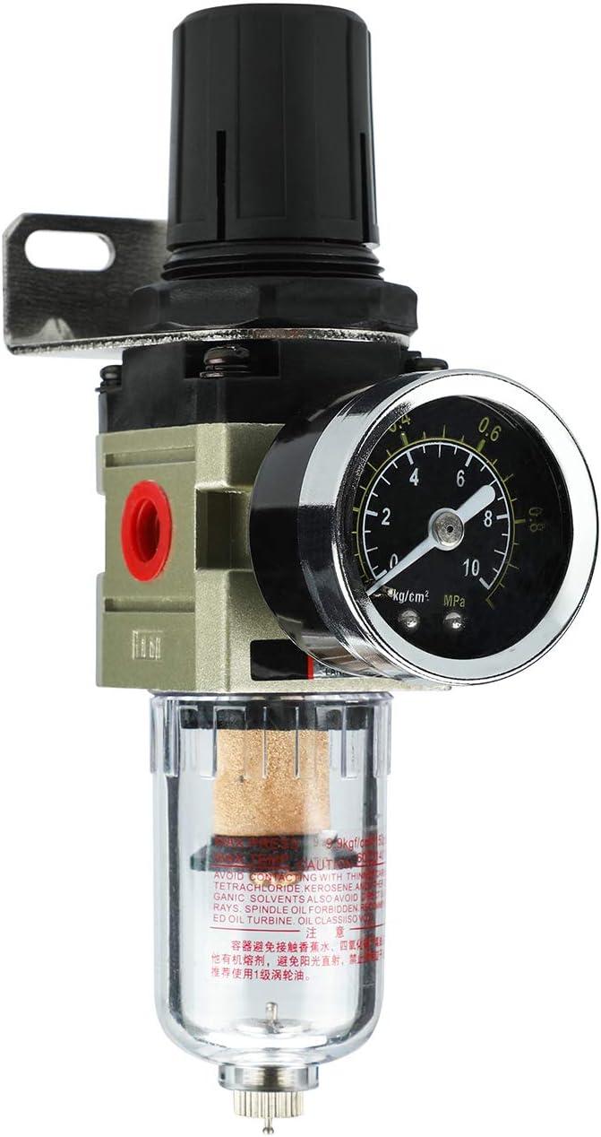 Nuevo Separador de agua Reductor de presión Regulador de aire comprimido para compresor de aire comprimido, filtro de 1/4 pulgada