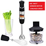 hand blenders, 850 watt powerful 4 in 1 immersion hand blender set with 500 ml chopper and 600 ml whisk beaker attachment, food grade and high quality stick blender, nice present to family friends.