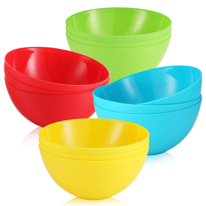 Pack of 12-24 Oz Kids Plastic Bowls - Cereal Bowls for Kids - Toddler Bowls for Snack, Soup, Salad, Ice Cream, Dessert & Fruit – 4 Bright Colors - BPA Free - Microwave and Dishwasher Safe