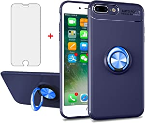 Phone Case for iPhone 7plus 8plus 7/8 Plus with Tempered Glass Screen Protector Cover and Ring Holder Stand Kickstand Cell Accessories Slim Silicone i Phone7s 7s + 7+ 8s 8+ Phones8 Cases Blue