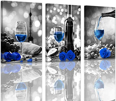 Kitchen Wall Decor Canvas Art Blue Wine Decor Black And White Eiffel Tower Background Romantic Dining Room Wall Decorations Rose Artwork For Walls Kitchen Pictures Wall Decor 16x24inchx3pcs Stretched Amazon Ca Home