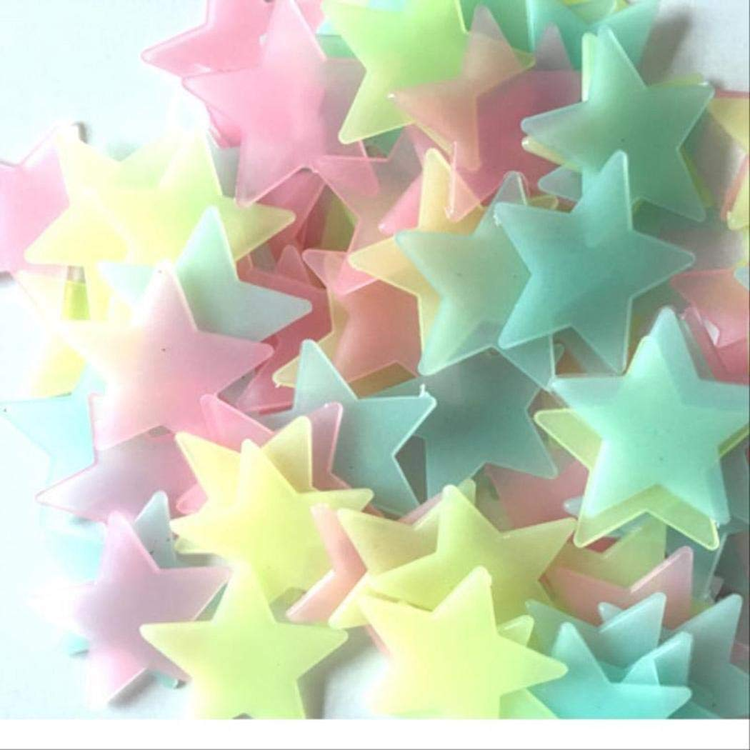 Pesters Cute Luminous Star Wall Stickers Glow in The Dark Fluorescent Patch Home Decor Wall Stickers