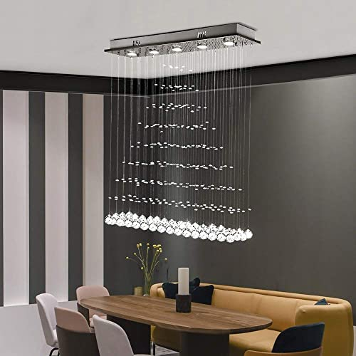 Modern Crystal Chandelier Rectangle Rain Drop Flush Mount Lighting Ceiling Light Fixtures for Living Room Dining Room Foyer Bedroom 5 Lights