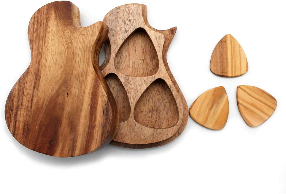 WANLIAN Wood Guitar Picks Suitable for Bass The Best Gift for Boyfriend Guitarists and Guitar Lovers Electric Guitar Container with 3 Pcs Standard Guitar Picks Set Folk Guitar and Ukulele