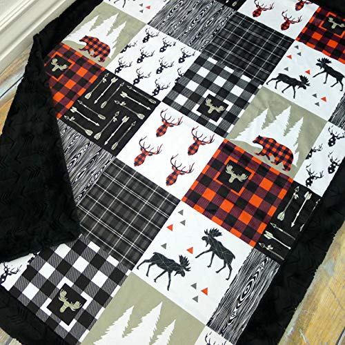 Baby Blanket with Double Minky - Lumberjack Baby Blanket with Buffalo Plaid, Moose, and Bears by Sugar Doodle Boutique