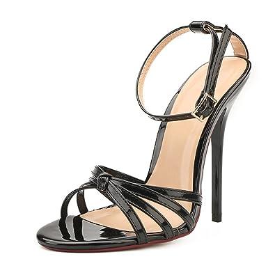83bf51c989d MAIERNISI JESSI Unisex Men s Women s Corss Strap Ankle Buckle Stiletto High  Heels Sandals Black EU37 -