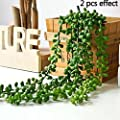 """Artificial Succulent Plants, String of Pearls, 28"""" Hanging Basketplant, Lover Tears Plants"""