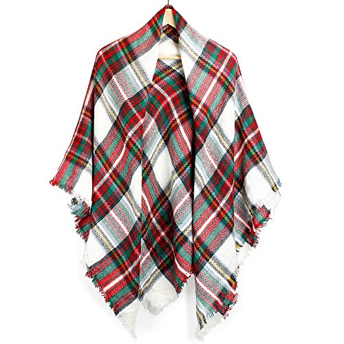 Oct17 Plaid Scarfs for Women Pashmina Tartan Wrap Large Warm Blanket Soft Shawl Checked Winter Fall Scarfs Scarves for Woman - Xmas]()