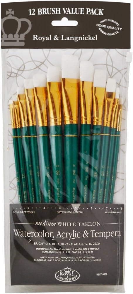 White Taklon Royal Brush Manufacturing Royal and Langnickel Zip N Close 12-Piece Brush Set
