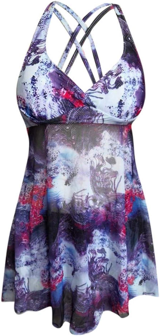 XUEJIN Womens One Piece Swimdress Tummy Control Swim Dress Cover Up Slimming Swim Dress Swimsuits Swimwear Bathing S-5XL
