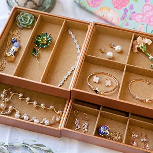 HUJI Stackable Jewelry Trays Organizer Storage Rings Earrings Bracelets Watches Necklaces (1, Camel Brown Stack-able Trays) by Huji (Image #7)