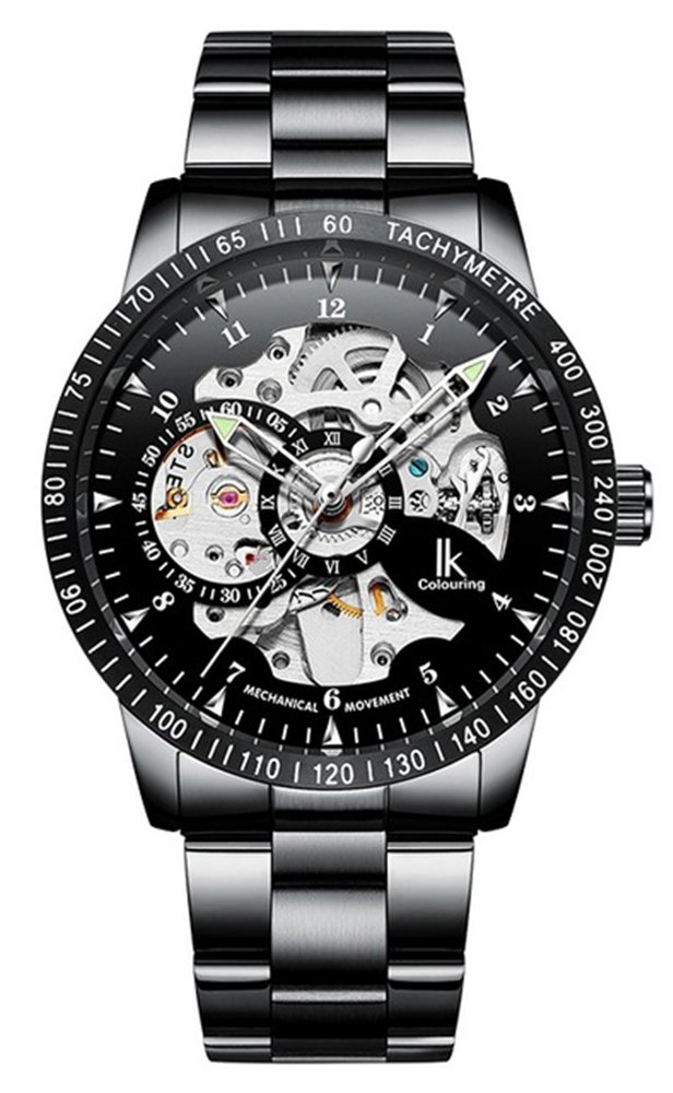 Men's Watch Luminous Skeleton Dial Gears Visible Classic Automatic Mechanical Watch with Original Box (Black Silver)