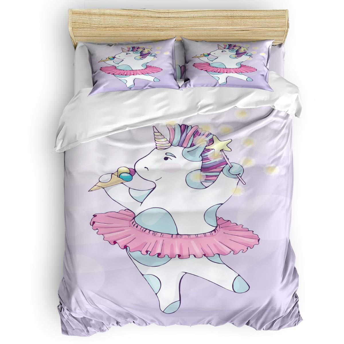Unicorndancingffy4403 Twin Bedding Set Full Size, Cute Animals Cats and Fish Fun Happy Beings Inspired Design Comforter Cover Sets for All Season