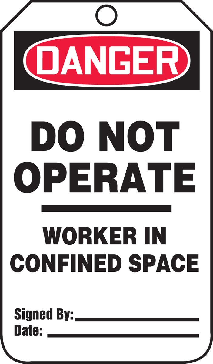 5.75 Length x 3.25 Width x 0.010 Thickness Accuform TCS331CTM PF-Cardstock Confined Space Tag LegendDanger DO NOT Operate Worker in CONFINED Red//Black on White Pack of 5 LegendDanger DO NOT Operate Worker in CONFINED